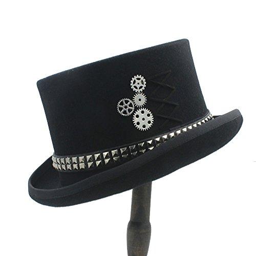 Hecho sombrero Sombrero Lana Personalidad 1 Halloween Remaches Wen Mujeres Superior Fodora Mano Steampunk Jujianfu Con De A Gears d4qtt