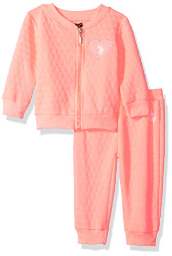U.S. Polo Assn. Baby Girls' 2 Piece Fleece Jog Set, Neon Orange, - Sports Us Clothing