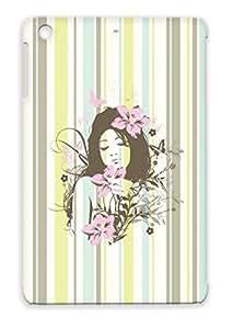 Summer Sunshine Fantasy Art Flower Vintage Girly Design Girl Flowers Pink Gray Flowergirl HD Pixel Design Protective Case For Ipad Mini