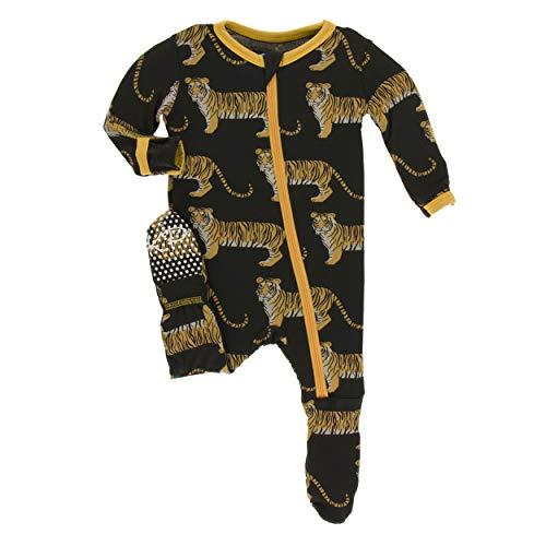 Kickee Pants Little Boys Print Footie with Zipper - Zebra Tiger, -