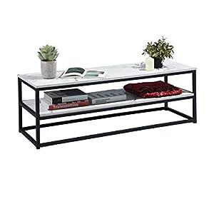 Meuble TV Multifonction Tables Basses avec Étagère Large Espace de Rangement