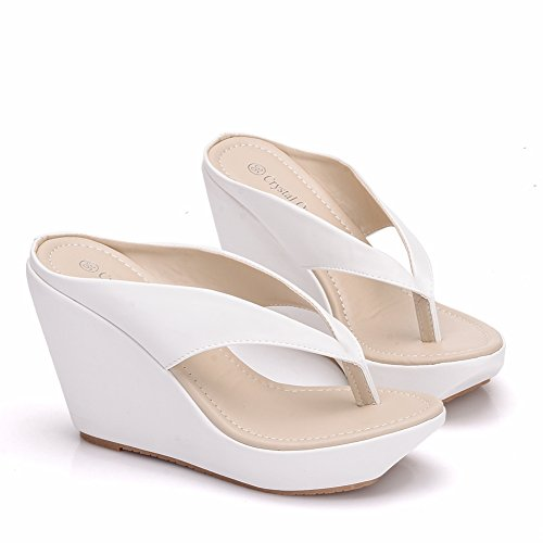 Crystal Queen Women Beach Sandals Platform Wedges Sandals High Heels Wedges Slippers Flip Flops White Flip Flops Plus Size (39 M EU / 8 B(M) US, White)