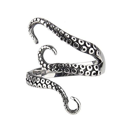 Beauty7 Adjustable Gothic Punk Octopus Tentacle Deep Sea Squid Kraken Nyarlathotep Stainless Steel Ring