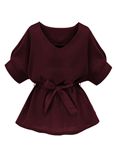 Milumia Women's V Neckline Self Tie Short Sleeve Petite Plus Size Blouse Tunic Tops Burgundy Large