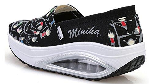 Scarpe Da Jaref Da Donna Slip On Sneakers Scarpe Da Ginnastica Da Passeggio Sportive Us5.5-10 Nero