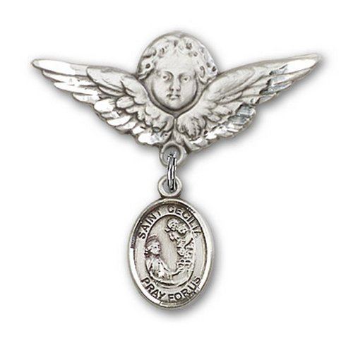 Icecarats Créatrice De Bijoux En Argent Sterling St. Cecilia Charme Ange Broche De Badge 1 1/8 X 1 1/8