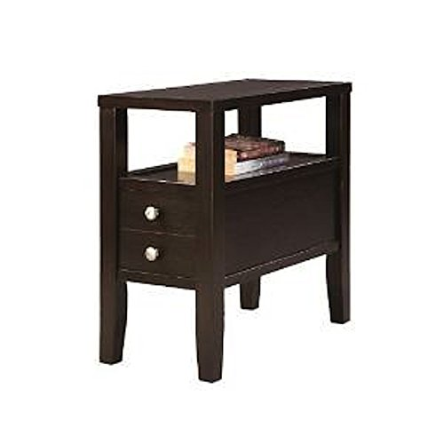 2 Drawer Contemporary End Table - ORE International 7708 Traditional Side/End Table with 2 Drawers, 24-Inch, Dark Espresso