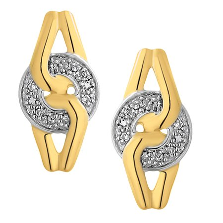 Diamant boucle d'oreille 0.04 ct tw rond coupé 9K blanc et jaune or