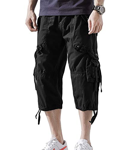 AOYOG Mens Cargo Shorts 3/4 Relaxed Fit Below Knee Capri Cargo Short Cotton (34, Black) ()