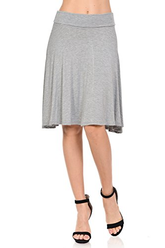 Ladybug Women's Solid Basic Fold-Over Stretch Midi Skirt (GS1051) - Made in USA (Medium, Heather Grey)