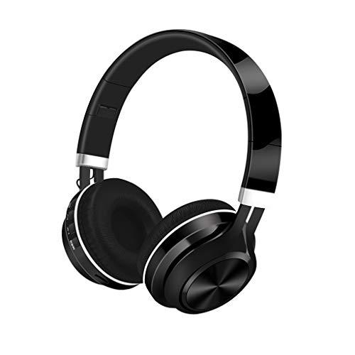 VIASA_ Bluetooth Headphones, 4.2 Subwoofer Stereo Folding Wireless HiFi Supra-Aural Earmuff Comfortable Earbud (Black)