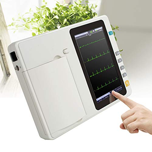 Denshine Portable 7'' LCD Touch Screen Digital 6 Channel Electrocardiograph ECG/EKG Machine Adapt 110-240V, 50/60Hz AC Power Supply