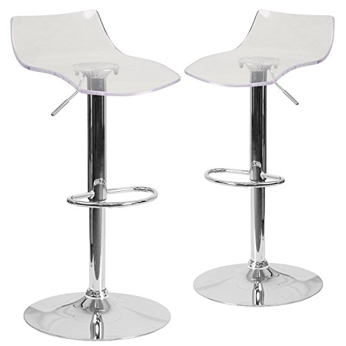 Flash Furniture 2 Pk. Contemporary Transparent Acrylic Adjustable Height Barstool with Chrome - Stool Acrylic White Bar