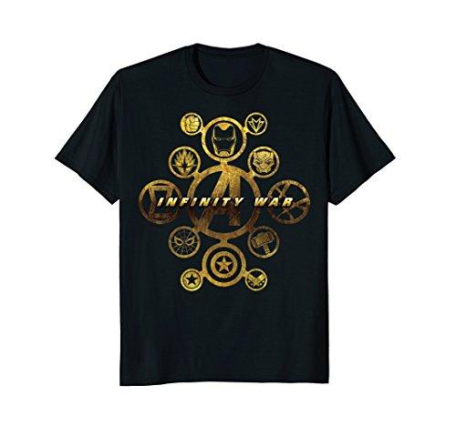 Marvel Avengers Infinity War Gold Hero Icons Graphic T-Shirt