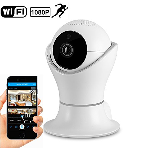 1080P Wireless Home Security IP Camera 360° Wifi Indoor Video Surveillance System Network Baby Monitor for Puppy Nanny Cloud Cam Night Vision Motion Detector Pan Tilt with 2 Way Audio APP Dome Webcam ()