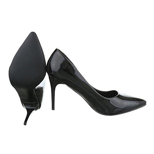Ital-Design Komfort Pumps Damenschuhe Geschlossen Pfennig-/Stilettoabsatz High Heels Pumps Schwarz