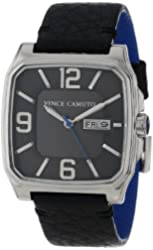Vince Camuto Men's VC/1022DGSV The Sergeant Square Silver-Tone Day-Date Function Black Leather Strap Watch