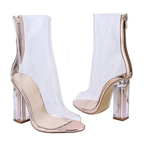 Sandalen mit Damen Schuhe Toe Peep Stiefel AIYOUMEI Transparent Weiß Sommer Blockabsatz Absatz 10cm SXZYwdq