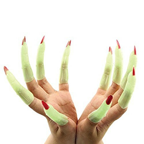 "Halloween Costumes In 10 Minutes (Halloween Witch Fingers Fake Nails by Hello Halloween | Green Glow-in-the-Dark Spooky Witches Fingers w/ Scary Red Nails | Halloween Props Costume Fingers | 10 Spooky Fingers, Approx. 3.5"" Long Each)"