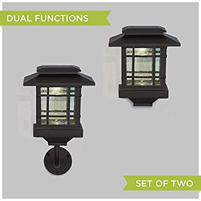 Set of 2 Bronze Metal Warm White LED Convertible Solar Outdoor Path Light with Wall Sconce Converter