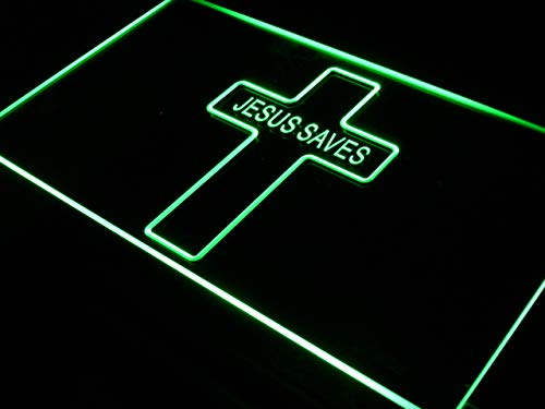 ADVPRO Jesus Saves Home Decor Display LED看板 ネオンプレート サイン 標識 Blue 600 x 400mm st4s64-i352-b B07G6P223H 24