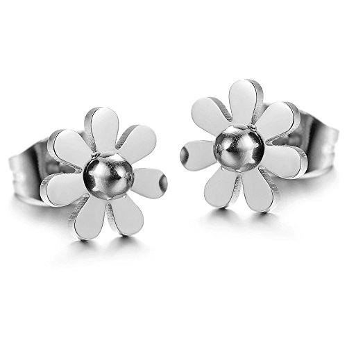 (Womens Girls Fashion Stainless Steel Vintage Daisy Flower Pendant Necklace (Silver Color Earrings))