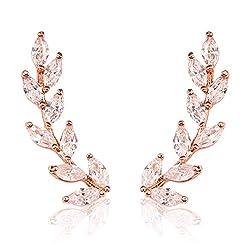 Sparkly Rhinestone Floral Ear Crawlers