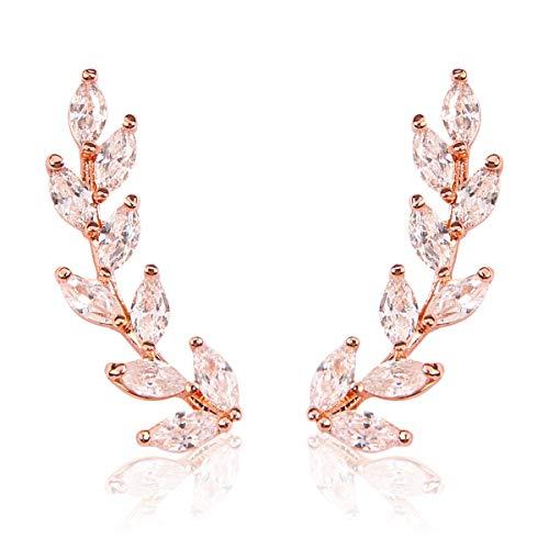 MYS Collection Sparkly Rhinestone Floral Ear Crawlers - Crystal Petal Leaf Climber Earlobe Cuff Earrings Delicate Teardrop Cubic Zirconia (Leaf - Rose Gold) ()