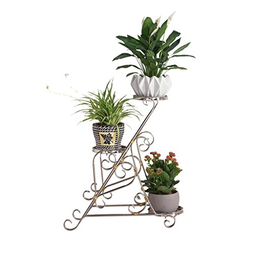 Wrought Steel Rosettes (GAOYANG Potted Plant Stand Stainless Steel Wrought Iron Multi-Layer Indoor Living Room Simple and Modern Floor-Standing Green Rosette Orchid Stand Green Plant Shelf (Color : Silver))
