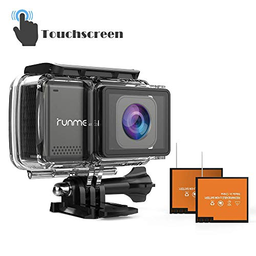 "RUNME R3 2.45"" Touchscreen 4K 16MP Wi-Fi Action Camera, Sony Image Sensor, 30M Water Resistant Camcorder with 170° Wide-Angle Lens, Sports Cam with Accessories Kit & 2 Rechargeable Batteries(Black)"