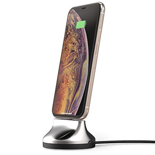 Sinjimoru [Apple MFi Certified] iPhone Dock, Phone Stand for iPhone Xs/X / 8/7 / 6 / 5 / iPod Docking Station, MFi Certified Lightning Cable Included.Sync Stand Chrome iPhone,Smoky Silver
