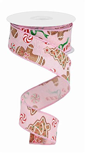 Gingerbread with Candy Canvas Wired Edge Ribbon - 10 Yards (Pale Pink, -