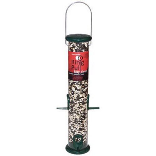 Droll Yankees Bird Feeder, Hanging Tube Sunflower Feeder, Easy Clean Ring Pull Dissassembly, RPS15G, 15 Inch, 1 Pound Seed Capacity, Green