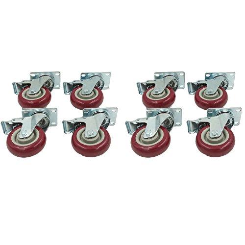 4″ PVC Heavy Duty Swivel Caster Wheels Lockable Ball Bearing 300Lbs each (Set of 8)
