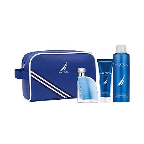 Nautica Blue Eau De Toilette for Men with Hair and Body Wash Deodorant Spray, 3-Piece Set