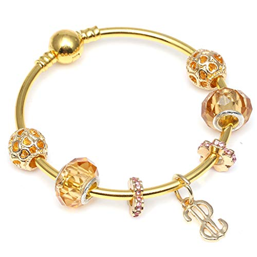 Present for Girlfriend Gold Colour Charm Bracelet; Bangles along with Love Heart Crystal Necklace fit Fine Bracelets Ladies Wedding Jewelry Gift Design]()
