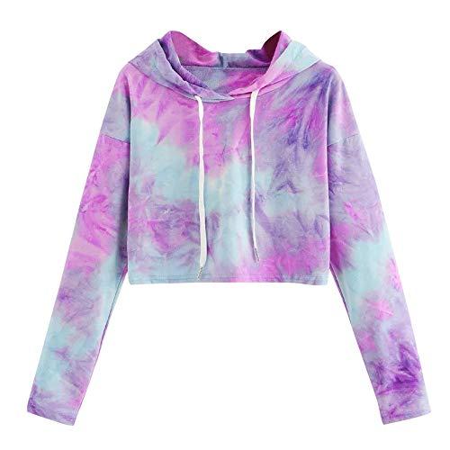 Womens Long Sleeve Tie-Dye Hooded Sweatshirt Ladies Casual Hoodie Pullover Tops