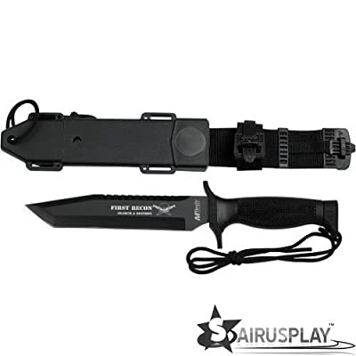 "M-Tech Black 12"" Fixed Tanto Blade Knife w/Sheath & Leg Attachment Sharp Strong and Durable for Camping Hiking Hunting Survival Self Defence and practical use by SairusPlay"