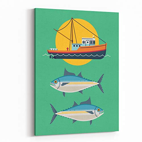 Rosenberry Rooms Canvas Wall Art Prints - Commercial Fishery Concept Layout Tuna Fishing Industry Background With Fishing Boat And Tuna Fish Seafood Harvest (32 x 48 (Concept Two Premium Boat)