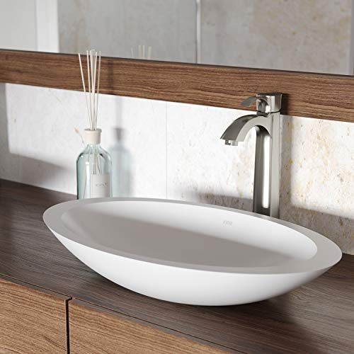 VIGO VG04011 Matte Stone Above counter Oval Bathroom Sink, 23 x 13.625 x 4 inches, White