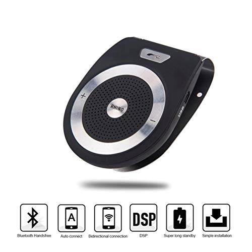 (Car Bluetooth Speakerphone Kits, Handsfree Noise Cancelling, Bluetooth V4.0 Receiver Multipoint Clip Sun Visor for Smartphone Devices Built in Microphone/ Stereo Speakers/ MP3 Player/ FM)