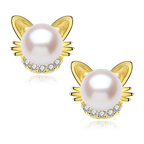 Cat Ear Stud Earrings Freshwater Cultured Pearl Stud Earrings Yellow Gold Plated Silver Ear Studs