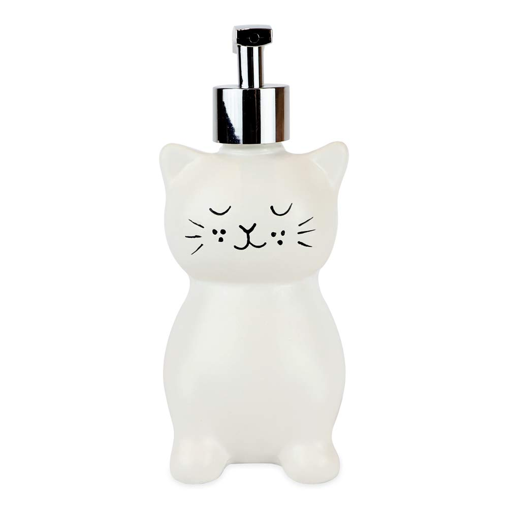 Isaac Jacobs White Ceramic Cat, Liquid Soap Pump/Lotion Dispenser with Chrome Metal Pump (Holds Up to 12 Oz) – Great for Bathroom, Kitchen Countertop, Bath Accessory (Cat)
