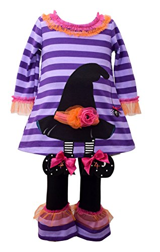 Bonnie Jean Girls' Little Two Piece Halloween Appliqued Dress and Legging Set, Purple, 4 -