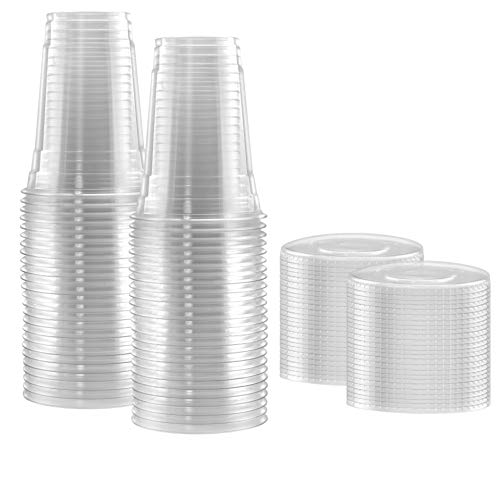 100-Pack Disposable Hard Plastic Cups with Flat Lids ?16 oz - Crystal Clear Drink Cups ? Hole for Straws ? Ideal Cups for Water Fountains, Parties, Festivals, Kiosk, On the Go?