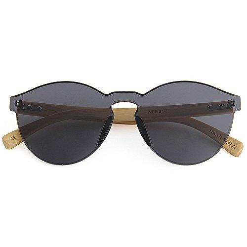 Style seule jambe Couleur à colorée soleil lentille hommes Noir protection pièce UV pour Fait femmes main KOMEISHO bambou de une la Marron lunettes unisexe XfqW0