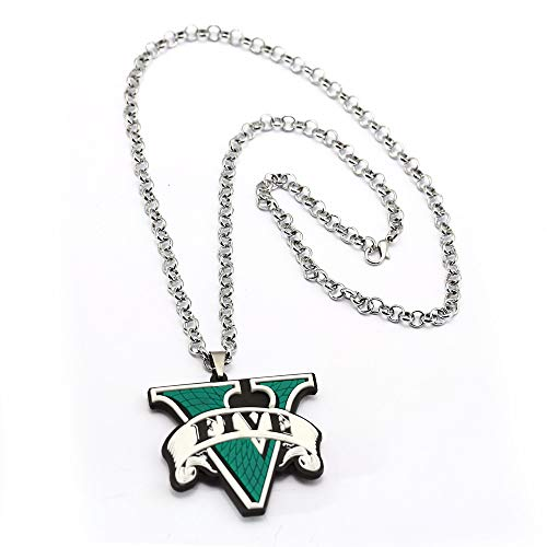 GTA5 Necklace Rubber Grand Theft Auto Five GTA 5 V Silicone Green Link Chain Pendant Necklaces Charm Gifts Game Jewelry