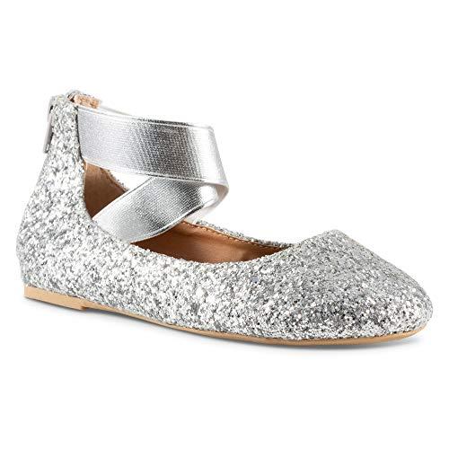 Twisted Girl's Cherie Dressy Ballet Flat -CHERIEZ Silver, Size 2]()