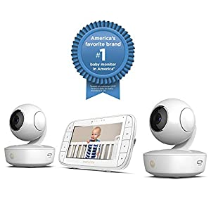 Motorola MBP36XL-2 Portable Video Baby Monitor, 5-inch Color Screen, 2 Rechargeable Cameras with Remote Pan, Tilt, and Zoom, Two-Way Audio, and Room Temperature Display with Free Star Grip Support