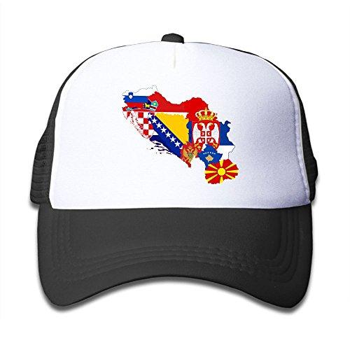 NO4LRM Kid s Boys Girls Former Yugoslavia Flag Map Youth Mesh Baseball Cap  Summer Adjustable Trucker Hat 4154f5e580f